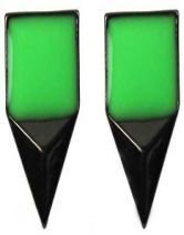 Green Enamel Square Stereo Triangle Studded Earring