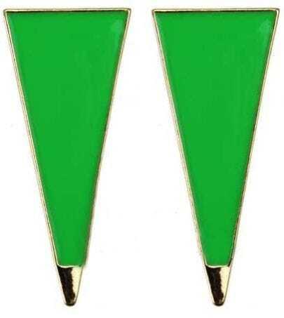 Green Blue Enamel Triangle Metal Point Studded Earring