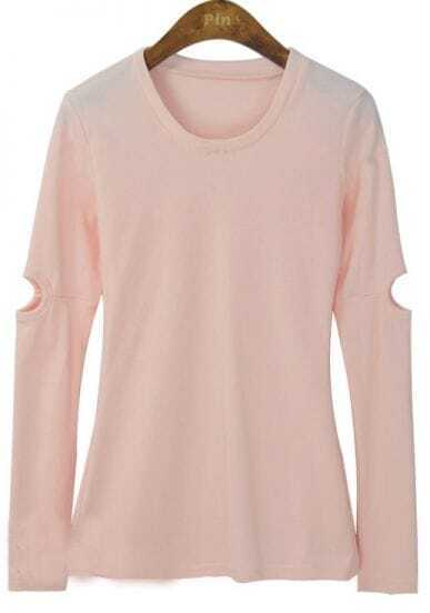 Pink Round Neck Cut Out Long Sleeve Slim T-shirt