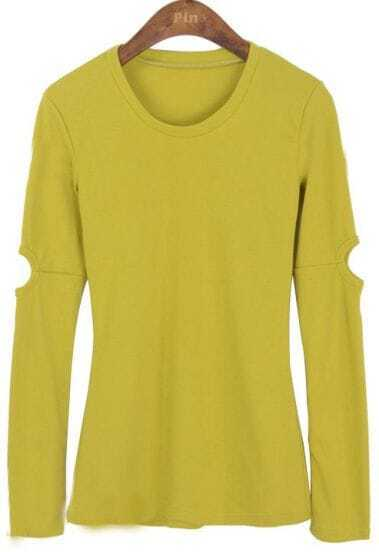 Lime Green Round Neck Cut Out Long Sleeve Slim T-shirt