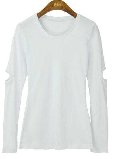 White Round Neck Cut Out Long Sleeve Slim T-shirt