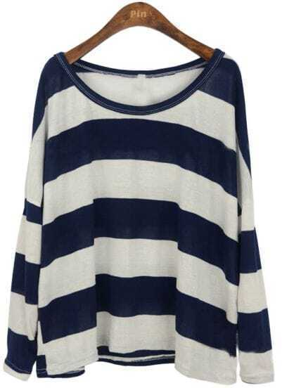 Navy White Stripes Long Sleeve Knitted T-shirt