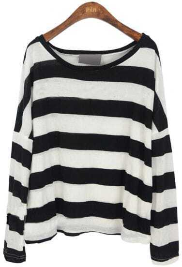 Black White Stripes Batwing Long Sleeve Knitted T-shirt