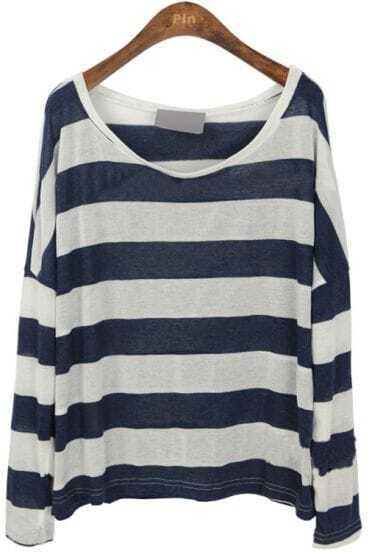 Navy White Stripes Batwing Sleeve Knitted T-shirt