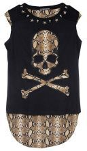 Black Sleeveless Chiffon Snakeskin Back Skull Print T-shirt