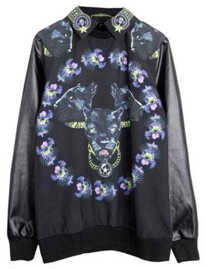 Black PU Leather Sleeve Cheetah Print Detachable Collar Blouse