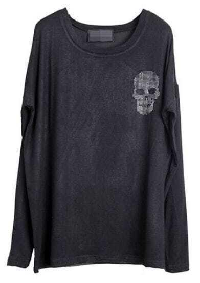Black Long Sleeve Rhinestone Skull Embellished T-shirt
