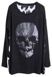 Black Long Sleeve Leopard Back Skull Applique T-shirt