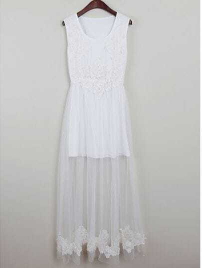 White Sleeveless Lace Embroidery Long Dress