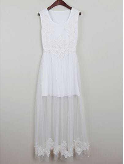 White Sleeveless Lace Embroidery Long Dress