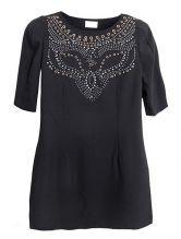 Black Short Sleeve Rhinestone Loose Dress