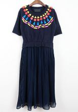 Navy Round Neck Short Sleeve Pleated Chiffon Dress