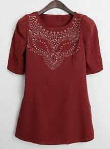 Red Short Sleeve Rhinestone Loose Dress