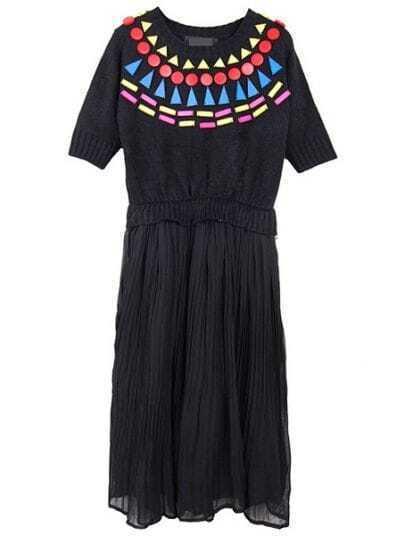 Black Round Neck Short Sleeve Pleated Chiffon Dress