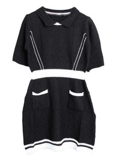 Black Round Neck Short Sleeve Pockets Dress