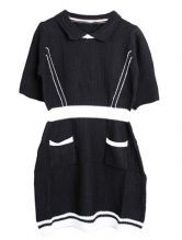Black Round Neck Short Sleeve Pockets Dress