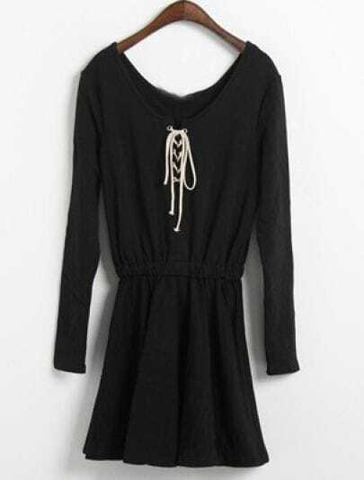 Black Long Sleeve Elasic Waist Drawstring Dress