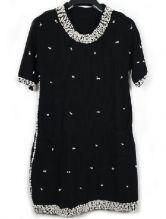 Black Short Sleeve Rhinestone Pearls Dress