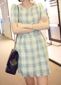 Blue Plaid Round Neck Puff Sleeve Dress