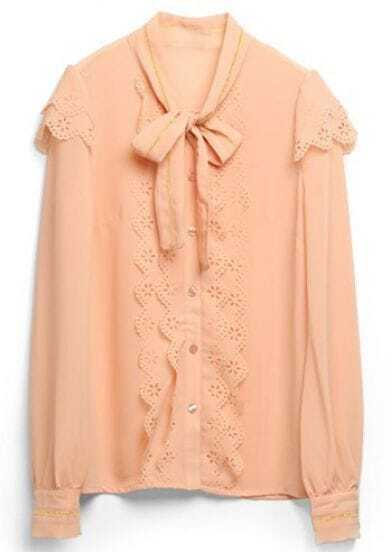 Pink Lace Hollow Bow Slim Chiffon Shirt