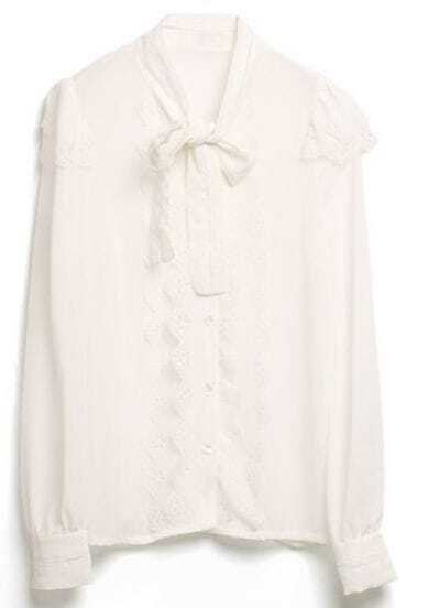Beige Lace Hollow Bow Slim Chiffon Shirt
