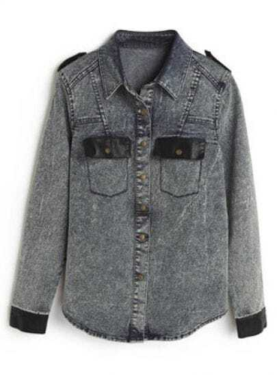 Dark Blue Lapel Buttons Pockets Denim Blouse