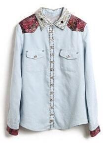 Light Blue Lapel Floral Stud Denim Shirt