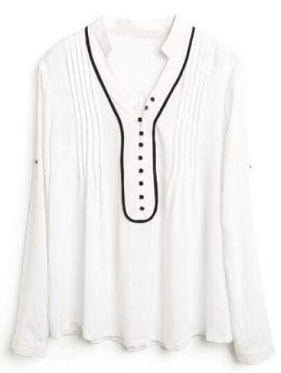White High Neck Long Sleeve Pleated Slim Shirt