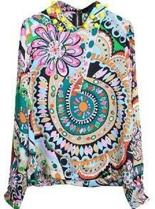 Multi Long Sleeve Floral Zipper Chiffon Shirt