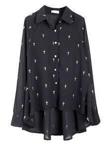 Black Lapel Long Sleeve Cross Print Shirt
