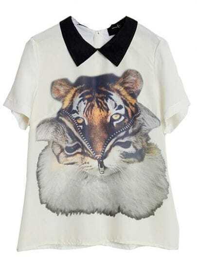 Apricot Lapel Short Sleeve Tiger Print Shirt