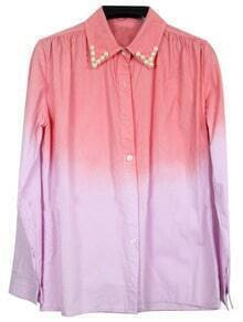 Red Purple Lapel Long Sleeve Pearls Shirt
