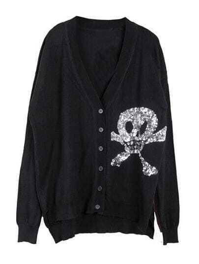 Black V Neck Sequined Skull Print Sweater