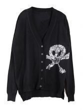 Black V Neck Sequined Skull Print Sweater