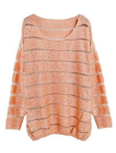 Orange Striped Long Sleeve Sequined Sweater
