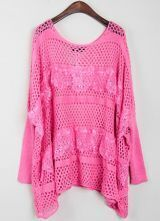 Rose Red Half Sleeve Hollow Lace Loose Sweater