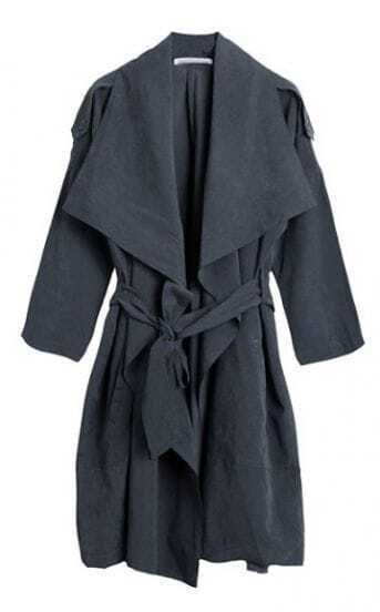 Dark Grey Long Sleeve Shawl Collar Suede Trench Coat