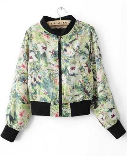 Light Green Maple Leaf Print Convertible Bomber Jacket