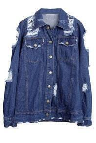 Blue Cut Out Shoulder Ripped Twin Pocket Denim Jacket