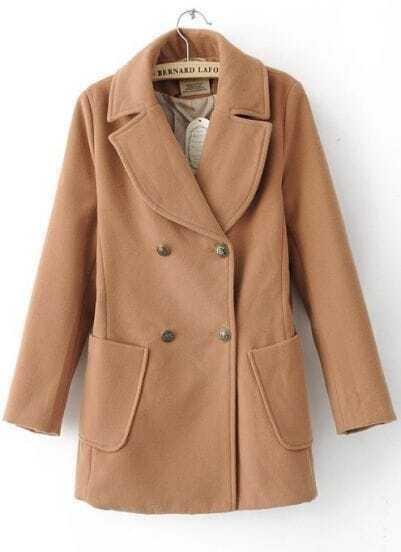 Khaki Long Sleeve Wide Lapel Double Breasted Duffle Coat