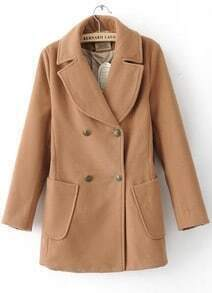 Khaki Long Sleeve Wide Lapel Double Breasted Duffle Coat