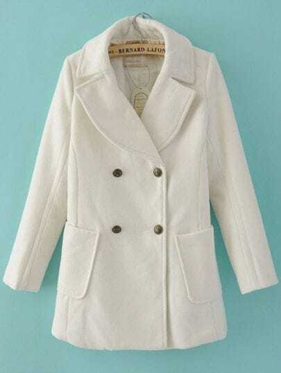 White Long Sleeve Wide Lapel Double Breasted Duffle Coat