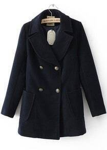 Navy Long Sleeve Wide Lapel Double Breasted Duffle Coat