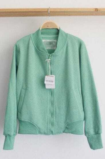 Mint Green Long Sleeve Duffle Baseball Jacket