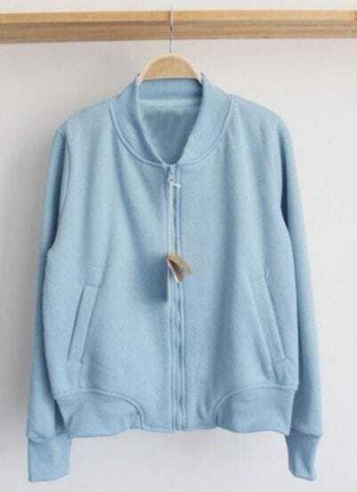 Light Blue Long Sleeve Duffle Baseball Jacket