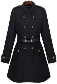Black Double Breasted Banded Collar Belt Woolen Coat