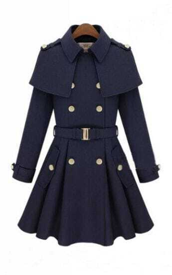 Navy Double Breasted Cape Collar Skirt Hem Woolen Coat