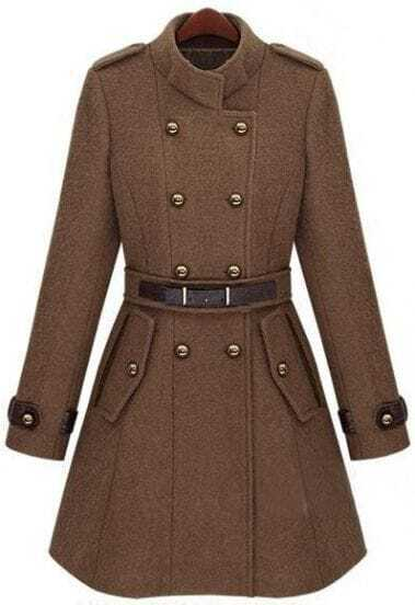 Camel Double Breasted Banded Collar Belt Woolen Coat