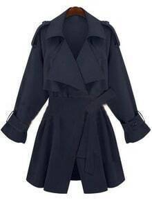 Navy Double Collar Storm Flaps Long Sleeve Trench Coat
