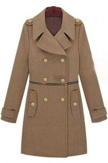 Camel Wide Lapel Double Breatsed Zipper Embellished Wollen Coat
